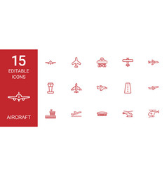 15 aircraft icons vector image