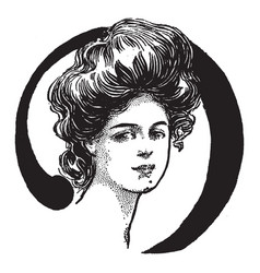 A face of a young woman vintage engraving vector