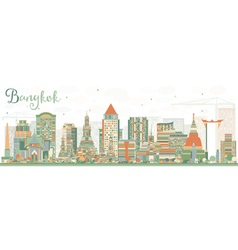 Abstract Bangkok Skyline with Color Landmarks vector