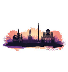 abstract landscape moscow with sights at sunset vector image