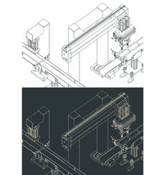 Automated factory line isometric blueprints vector