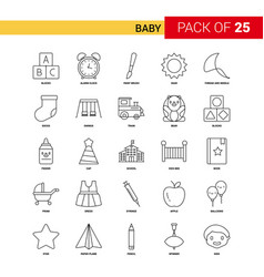 baby black line icon - 25 business outline icon vector image