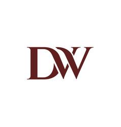 beautiful dw logo design inspiration vector image