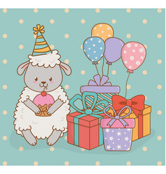 birthday card with cute sheep woodland vector image