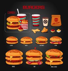 Burger menu hamburgers types fast food icons set vector