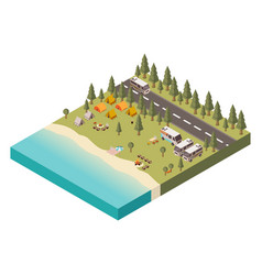 Campsite with road isometric vector