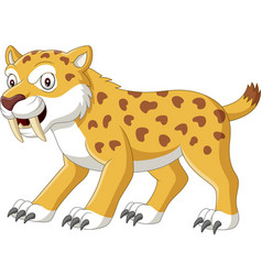 cartoon angry sabre tooth tiger vector image