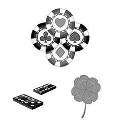 Casino and equipment monochrome icons in set vector