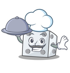 Chef with food dice character cartoon style vector