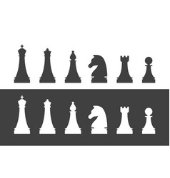 Chess pieces silhouettes set vector