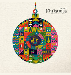 christmas and new year retro folk art ornament vector image