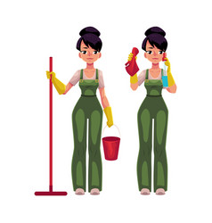 Cleaning service girl in overalls holding mop vector