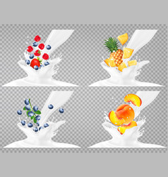 collection of fruit in a milk splash strawberry vector image