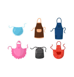 Colorful kitchen aprons set vector