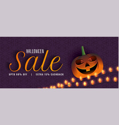 creative halloween sale banner with pumpkin and vector image