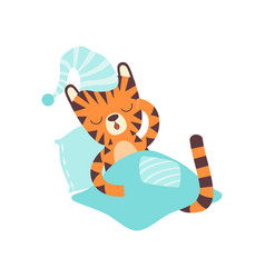 Cute little tiger wearing cap sleeping in bed vector