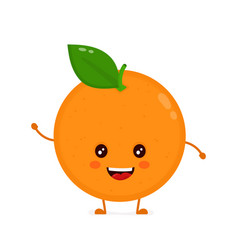 cute smiling happy orange flat vector image
