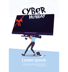 cyber monday sale poster with man holding big tv vector image