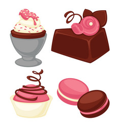 Delicious cakes soft muffins and crispy macaroons vector