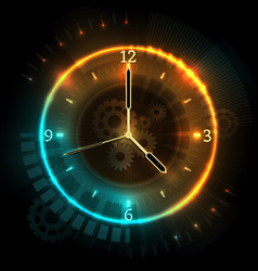 Digital futuristic watch with neon effects time vector