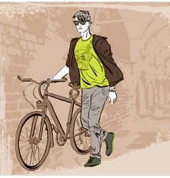 Dude with a Bike Sightseeing vector image
