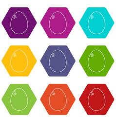 egg icons set 9 vector image