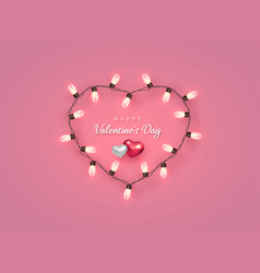 electric bulb in heart shaped frame with hearts vector image