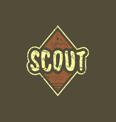 emblem with rough texture for scout club vector image