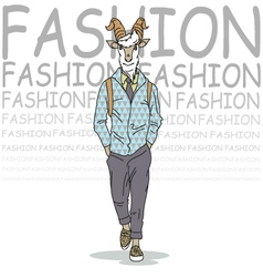 Fashion of goat hipster style vector