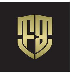 Fb logo monogram with emblem shield shape design vector