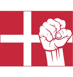 flag of denmark with fist vector image vector image