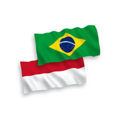 Flags indonesia and brazil on a white vector
