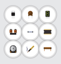 flat icon electronics set of resistor receiver vector image