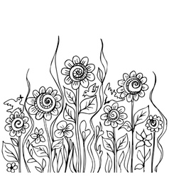 Flower doodles vector image