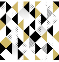 Gold black and white seamless triangle pattern vector