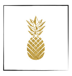 Gold pineapple fruit vector