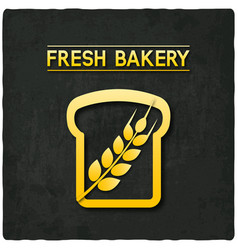 golden bread bakery symbol black background vector image