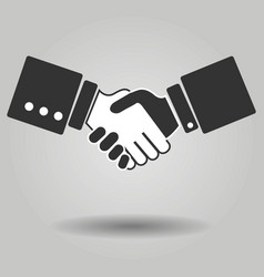 gray hand shake icon on background modern simple vector image