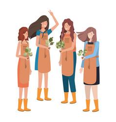 Group women gardeners smiling avatar character vector