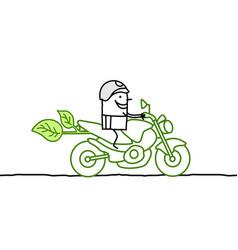 Happy cartoon man on green moto vector