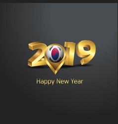 Happy new year 2019 golden typography with korea vector