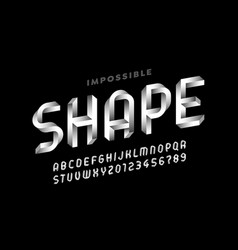 Impossible shape style font vector
