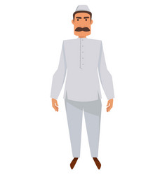 indian man with mustache in traditional clothing vector image