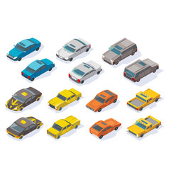 isometric cars icons collection flat vector image