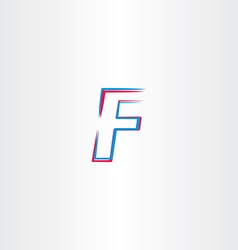 letter f icon symbol blue red sign vector image
