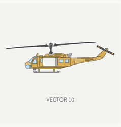 Line flat color icon military turboprop vector