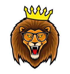 lion in glasses and crown vector image