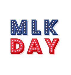 martin luther king jr decorative dimensional text vector image