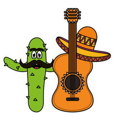Mexican cactus with hat and guitar comic character vector