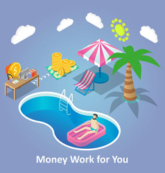 Money work for you isometric vector